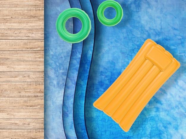 3d-rendering zwembad bovenaanzicht met zwemringen en opblaasbaar vlot