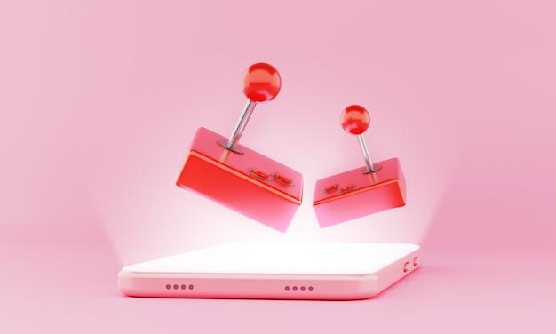 3d-rendering zwevend spel duo-joystick op slimme telefoon schijnt scherm. mobiele games, technologie van de toekomst