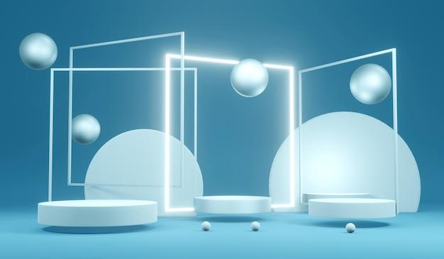 3d-renderingconcept van futuristische gloeiende led-lijnen lichten vierkant met een leeg podium in blauw turquoise thema voor commercieel cosmetisch luxeontwerp. 3d-rendering illustratie. abstract lichtconcept.
