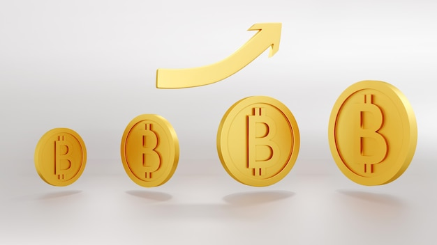 3d-renderingconcept van klein tot groot van gouden cryptocurrency bitcoin-munten met grafiek die naar boven wijst