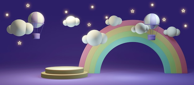 3d-renderingconcept van lange scèneregenboog en heteluchtballonachtergrond met lege podiumvertoning voor commercieel ontwerp. 3d-weergave. illustratie.