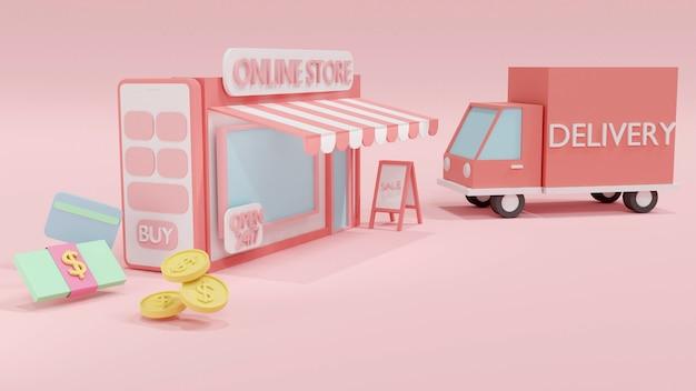 3d-renderingconcept van online winkelen: een telefoon met een online winkel en geldrekening, contant geld, creditcardachtergrond. 3d render. 3d illustratie.