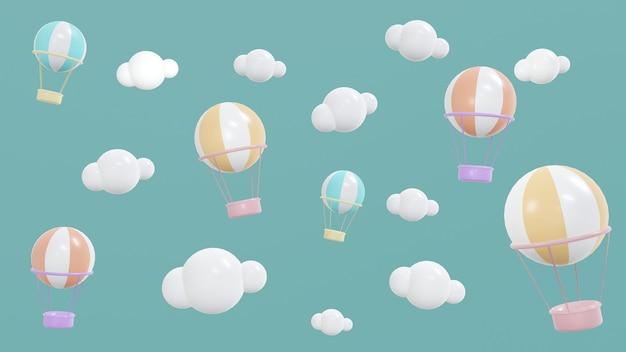 3d-renderingconcept van schattige weergaveruimte met heteluchtballonnen in de lucht met wolken