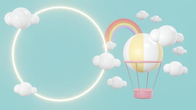 3d-renderingconcept van weergaveruimte met heteluchtballonnen in de lucht met wolken en glanzende ring
