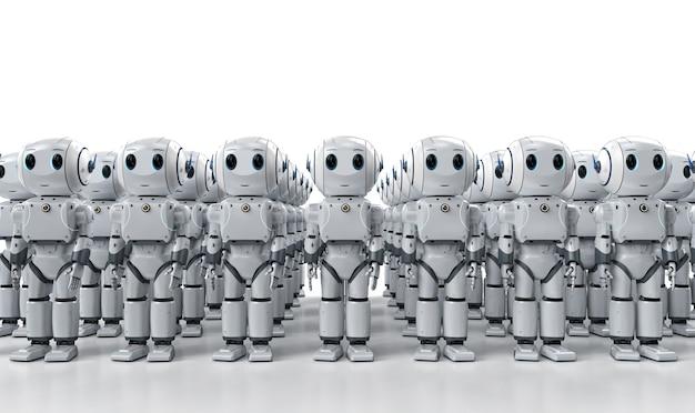 3d-renderinggroep van schattige kunstmatige intelligentierobots of robotleger met stripfiguur
