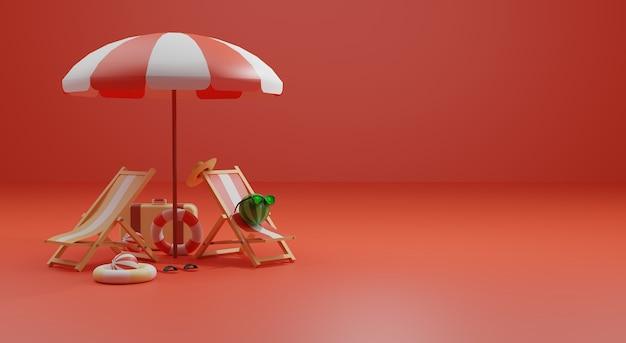 3d-renderingillustratie met zomerthema premium foto