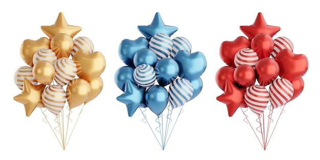 3d-renderingobject. drie kleur goud blauwe en rode ballon set met ster hartvorm geïsoleerd op een witte achtergrond. uitknippad afbeelding.