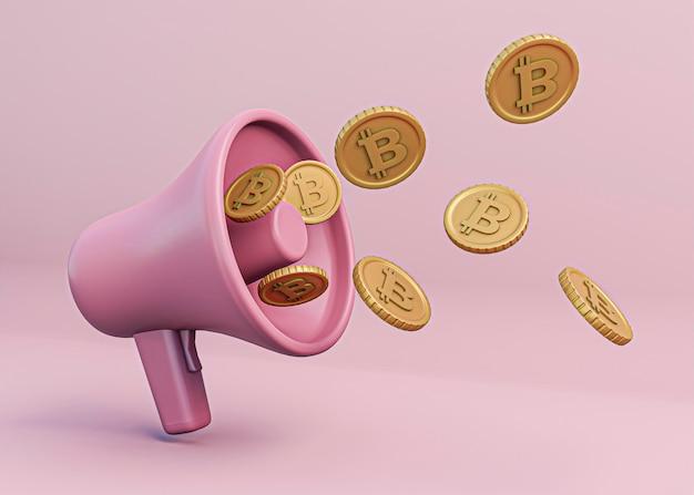 3d-renderingontwerp voor cryptocurrency