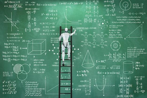 3d-renderingrobot die leert of problemen oplost met blackboard