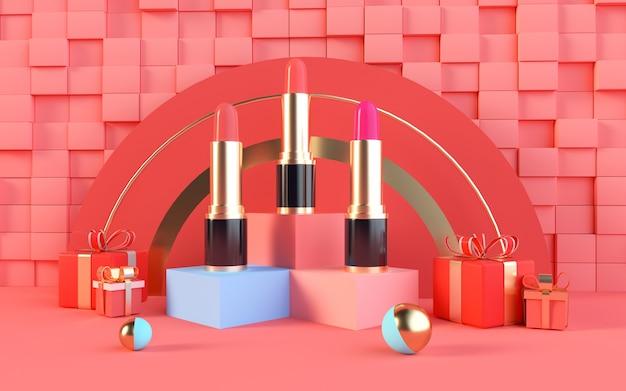 3d-renderings van abstract roze met lippenstift op een terrasvormig podium voor productvertoning