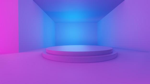 3d-renderings van een brede hal met blauwe en roze lichten met een podium in het midden