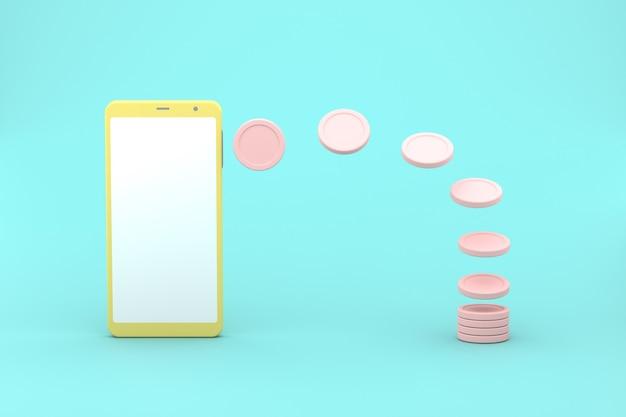 3d-renderingsimulatie van een slimme telefoon die geld genereert in munten. pastelkleuren
