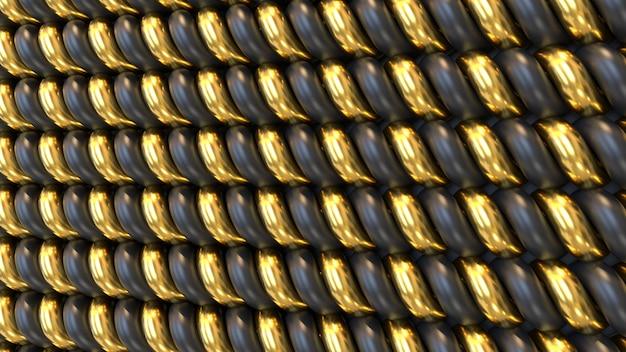 3d renderpatroon van zwarte en gouden vormen