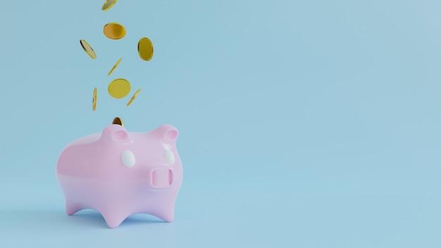 3d renderring van spaarvarken met dalend gouden muntstuk het concept van het geldbesparing.