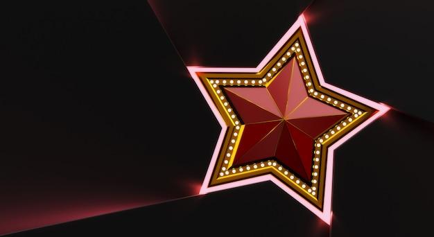 3d rendiring van gouden ster met lichten geïsoleerd op zwarte achtergrond.