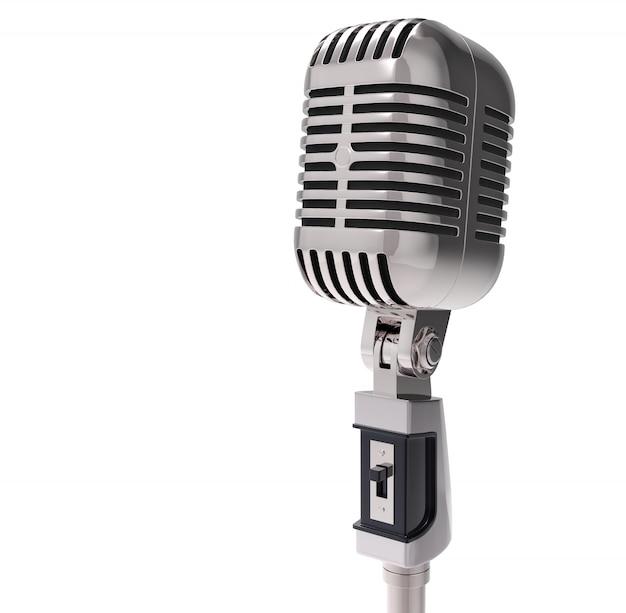 3d retro microfoon. geïsoleerd