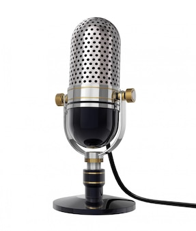 3d retro microfoon (zijaanzicht). geïsoleerd