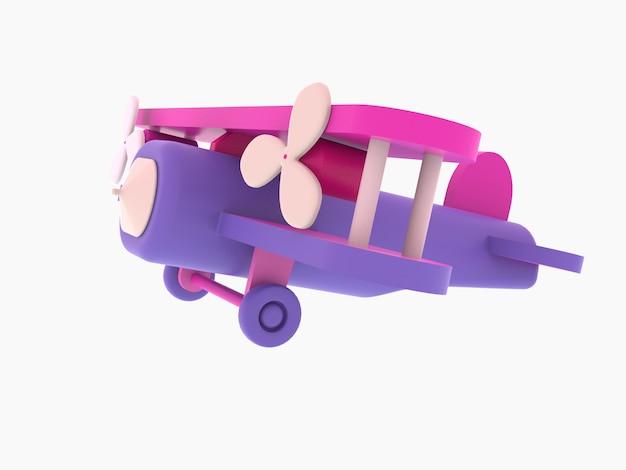 3d retro stuk speelgoed van het stijl roze vliegtuig, 3d illustratie