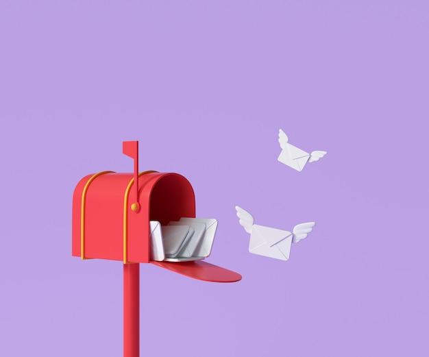 3d rode brievenbus met vliegende envelop, postbezorging en nieuwsbriefconcept. 3d render illustratie