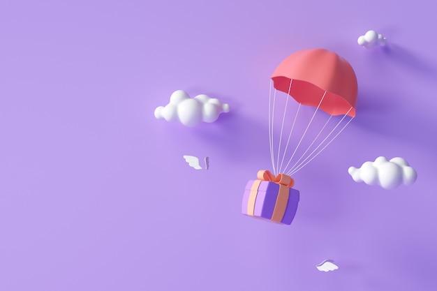 3d rode parachute met paarse geschenkdoos die door wolken vliegt. 3d render illustratie