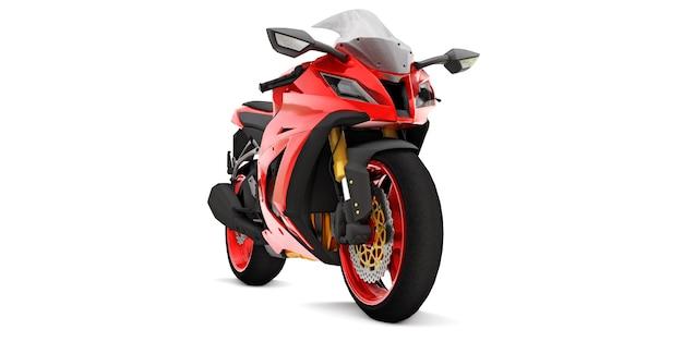 3d-rode super sportmotor op wit geïsoleerd oppervlak