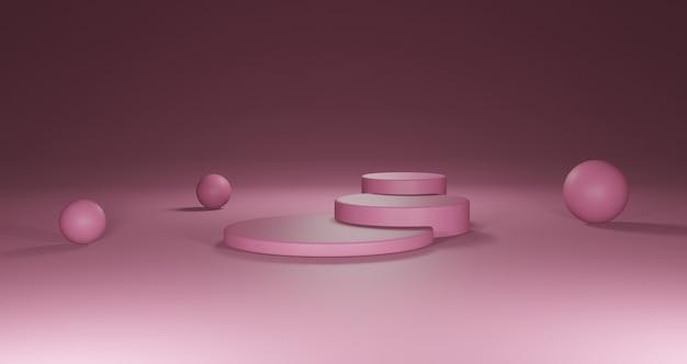 3d rond roze podium voor productplaatsing