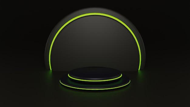 3d rond zwart podium met cirkelslicht voor productplaatsing