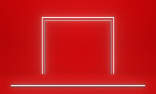 3d rood geometrisch podium met witte neonlichten