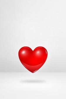 3d rood hart geïsoleerd op een witte studio achtergrond. 3d illustratie