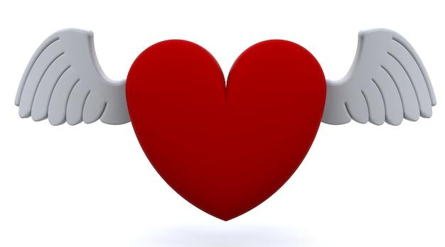 3d rood hart met vleugels