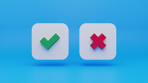 3d rood kruis en groen vinkje pictogram op blauwe achtergrond