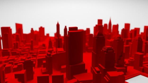 3d rood stadspanorama dat op witte achtergrond wordt geïsoleerd. 3d-rendering.