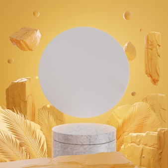 3d rotsen en stenen op marmeren podium op gele muur