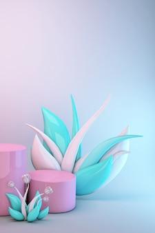 3d-roze abstracte geometrische voetstuk. helder pastel podium minimaal ontwerp met groene en witte bloemen. podium voor cosmetische producten.