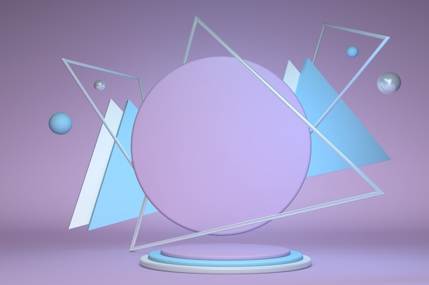 3d-roze blauwe podium achtergrondstructuur in pastelkleuren abstracte geometrische vormen met driehoek en bol 3d-rendering creatief idee minimale scène