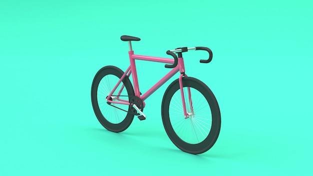 3d roze fiets 3d-rendering cartoon stijl groen
