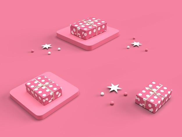3d roze geschenkdoos met polka dot patroon