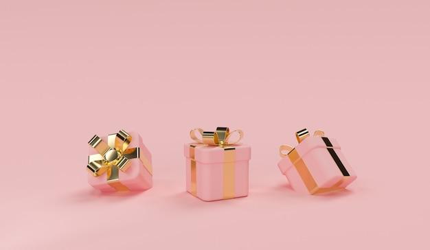 3d-roze geschenkdoosscène met gouden lint