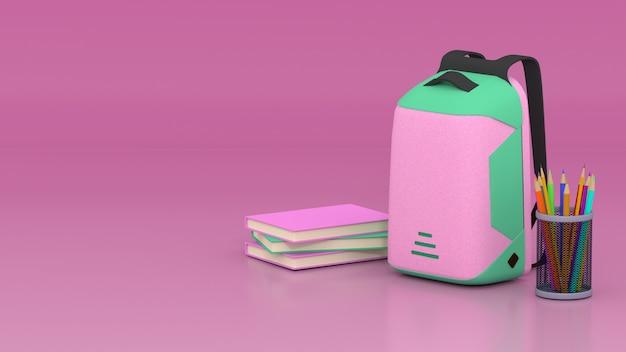 3d roze-groene tas, potloden, kleurpotloden en boeken met roze ruimte