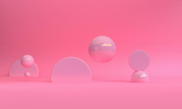 3d roze kleur minimalistisch stijl ontwerp, scène podium mock-up presentatie, 3d render abstracte achtergrond.