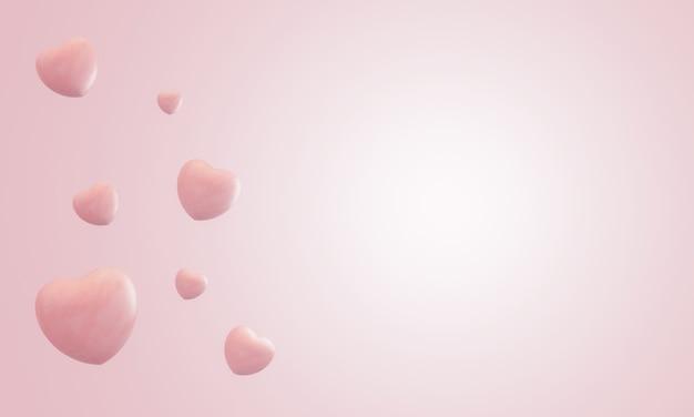 3d roze marmeren harten. valentijnsdag.