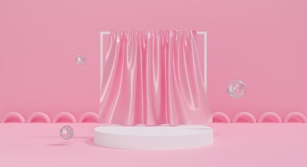 3d roze podium op pastel achtergrond met zijden stof.