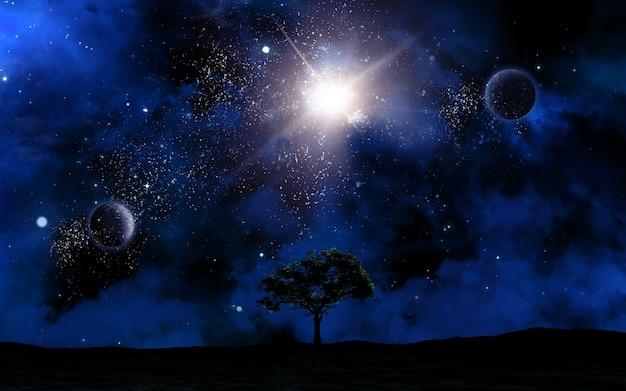 3d-ruimte landschap met boom silhouet tegen hemel