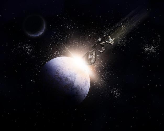 3d ruimteachtergrond met meteorieten die met planeet in botsing komen