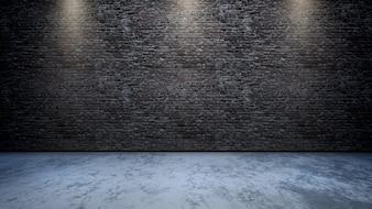 3D ruimtebinnenland met bakstenen muur met schijnwerpers die neer glanzen