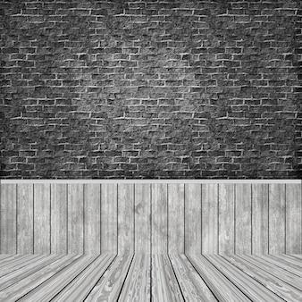 3d ruimtebinnenland met grungebakstenen muur en houten vloer