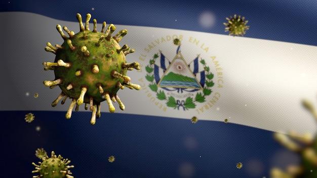 3d, salvadoraanse vlag die zwaait met een uitbraak van coronavirus die de luchtwegen infecteert als gevaarlijke griep. influenza type covid 19-virus met nationale spandoek van salvador die op de achtergrond waait