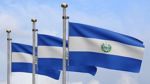3d, salvadoraanse vlag zwaaien op wind met blauwe lucht en wolken. close up van salvador banner waait, zacht en glad zijde. doek stof textuur vlag achtergrond.