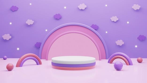 3d scène geeft achtergrond met purper hemel en cilinderpodium terug