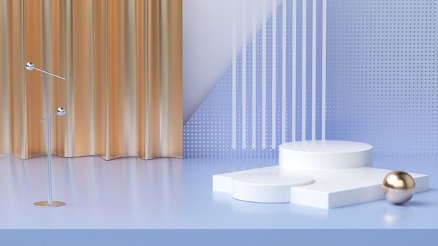 3d-scène renderings, abstracte geometrie met gouden gordijnen voor productvertoning